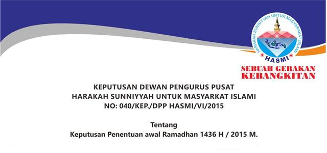 DPP HASMI Putuskan & Tetapkan 1 Ramadhan 1436H Jatuh Pada 18 Juni