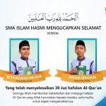 Dua Siswa SMA Islam HASMI Berhasil Selesaikan Hafalan 30 Juz Al Qur'an