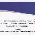 """Release: """"Surat Keputusan Penetapan Hari Raya Idul Adha DPP HASMI"""""""